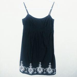 LOFT Black Adjust Strap Floral Embroid Midi Dress